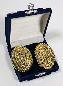 Enorme Vintage Clip SU ORECCHINI dichiarazione Corda A Spirale Tono Oro 80s Power medicazione