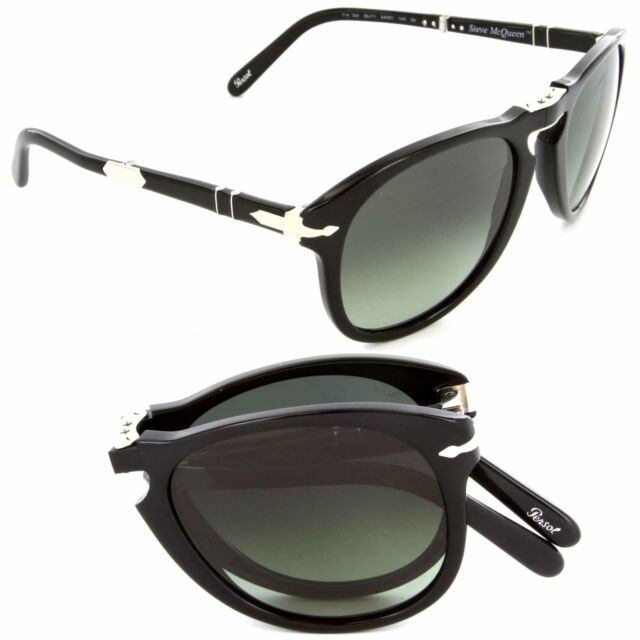 97158a1e7ca7 Persol Steve McQueen Sunglasses PO 714SM 95/71 54mm Black / Green Lens