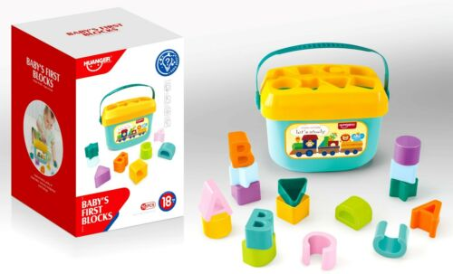 Colorful My First Shape Sorter Bucket Baby Toddler Sorting Activity Toy