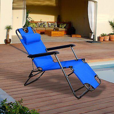 Tumbona Inclinable Acero Plegable + Almohada Playa Camping Piscina Hamaca Azul