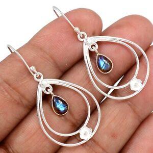 Labradorite-Madagascar-925-Sterling-Silver-Earrings-Jewelry-AE94635-162L