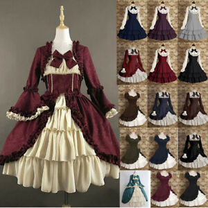 Medieval-Renaissance-Women-Victorian-Lolita-Ruffle-Short-Sleeve-Dress-Costume
