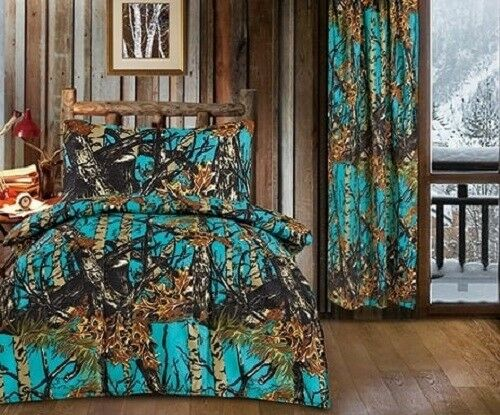 14 pc Twin Woods Sea Breeze Camo comforter w sheets & 2 curtain sets