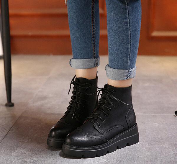 botas elegantes bajo botas militares 5 cm negro cordones como piel CW822