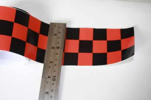 """Red /& Black Checkered 1/"""" 26mm Tape Car Motorbike Exterior Vinyl Decal"""