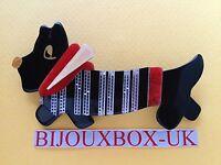 Lea Stein socks Dog Brooch. Free Post Worldwide.