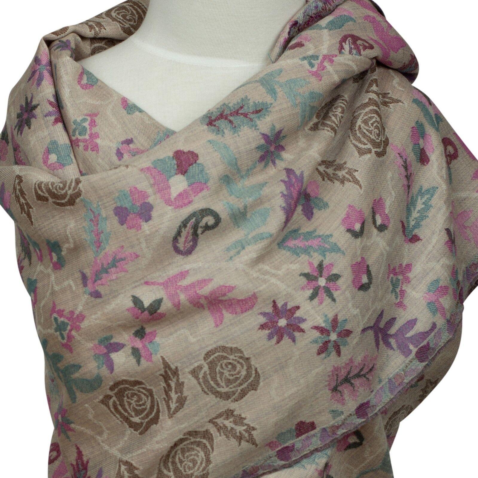Kani Schal Stola Beige Rosan , scarf stole 100% 100% 100% Wolle wool  floral Rosas | Ideales Geschenk für alle Gelegenheiten  | Shopping Online  257c9b
