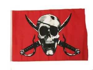 12x18 30.5cmx45.7cm Jolly Roger Pirate Cramoisi Manche Drapeau Bateau Voiture Vous Garder En Forme Tout Le Temps