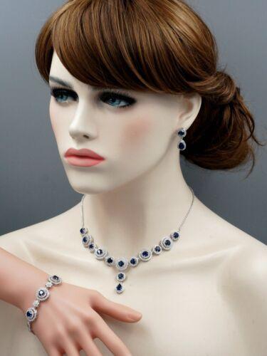 Saphir Bleu Zircone Collier Bracelet Boucles D/'Oreilles Bijoux Lot Cadeau 2556