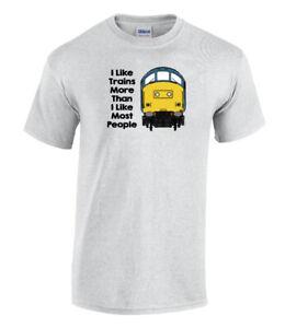 I Like Trains More Than I Like Most People Class 37 Funny Railway T-Shirt