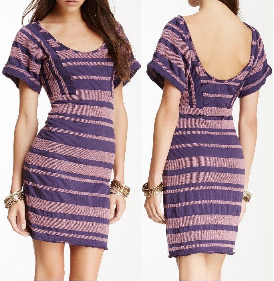 Free People purple Purple Lunch Date Textured Stripe Mini Dress F424Z154 -
