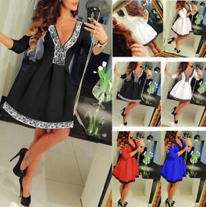 New-Women-Summer-Casual-Long-Sleeve-Evening-Party-Cocktail-Lace-Short-Mini-Dress