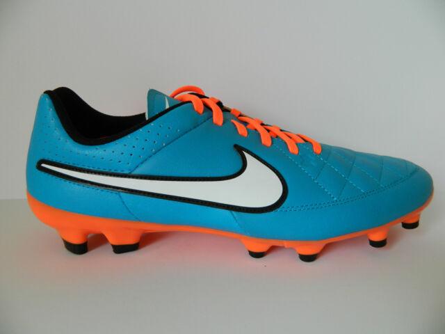 Nike Men s Tiempo Genio Leather FG Cleats 11.5 Orange Blue 631282 ... 120dc0b7c124