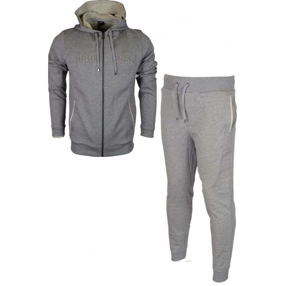 Hugo Boss 50381426 50381886 Cotton Regular Fit Hooded grau Melange Tracksuit