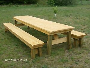 Classic-Picnic-Table-with-Separate-Benches-Plan-How-to-build-it-yourself