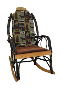 Admirable Details About Amish Hickory Rocking Chair Pad Cushion Set In Brown Cabin Fabric Dailytribune Chair Design For Home Dailytribuneorg