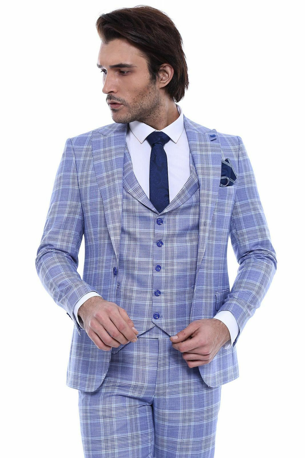 Men 3pc Vested Suit Turkey WESSI, J.VALINTIN Slim Fit 132-21 English Plaid Blau