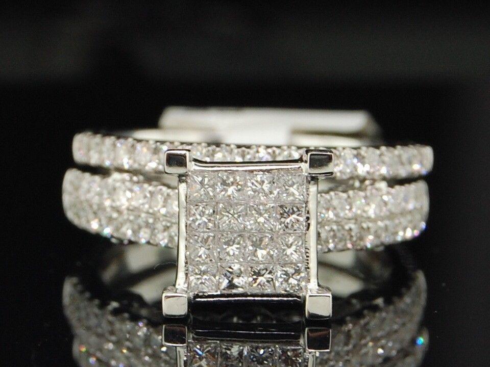 Diamond Wedding Engagement Ring 14K White gold Round Bridal Set 1.37 Tcw.