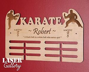 Laser Cut KARATE Medal Display - Custom Engraved Wooden KARATE Medal Hanger