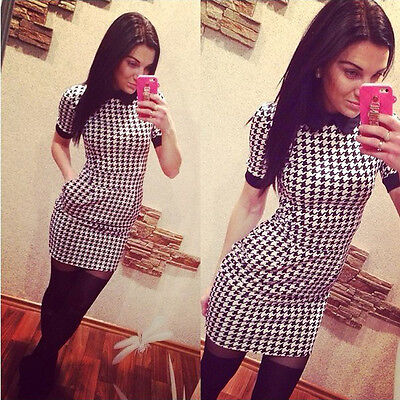 New Women Dress Slim Short Sleeved Plaid Print Bodycon Casual Dresses Lovely
