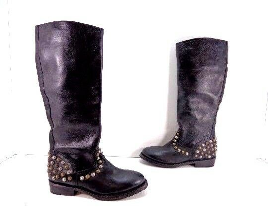 Women's Ash Vamos Bis Studded Knee High Leather Boots Black Size 37 US 6 M