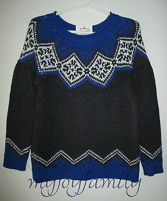 HANNA ANDERSSON Icelandic Sweater Charcoal Blue Sea 160 14 NWT