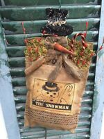 Wall Hanging Snowman Bag Ornament Burlap Stocking Primitive Grungy Bell Country