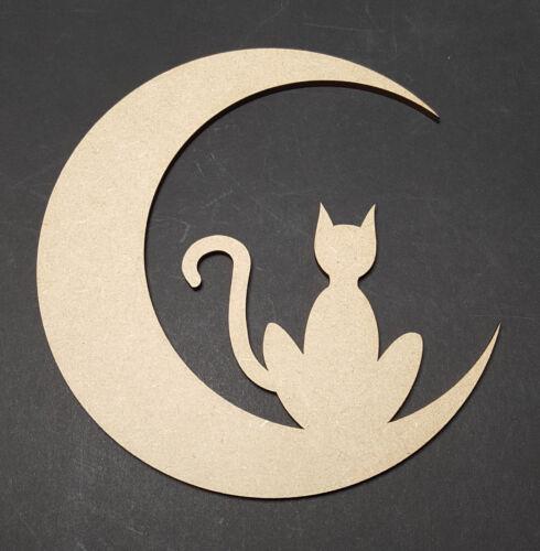 Cat//Moon MDF wall art window decoration craft shape halloween party