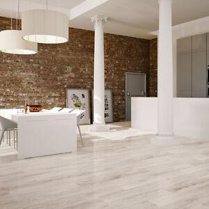 Sevenoak White Oak Polished Wood Effect Porcelain Floor Tiles ...