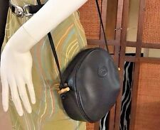 Longchamp Paris 1948 France Small Black Leather Crossbody Purse Bag GUC