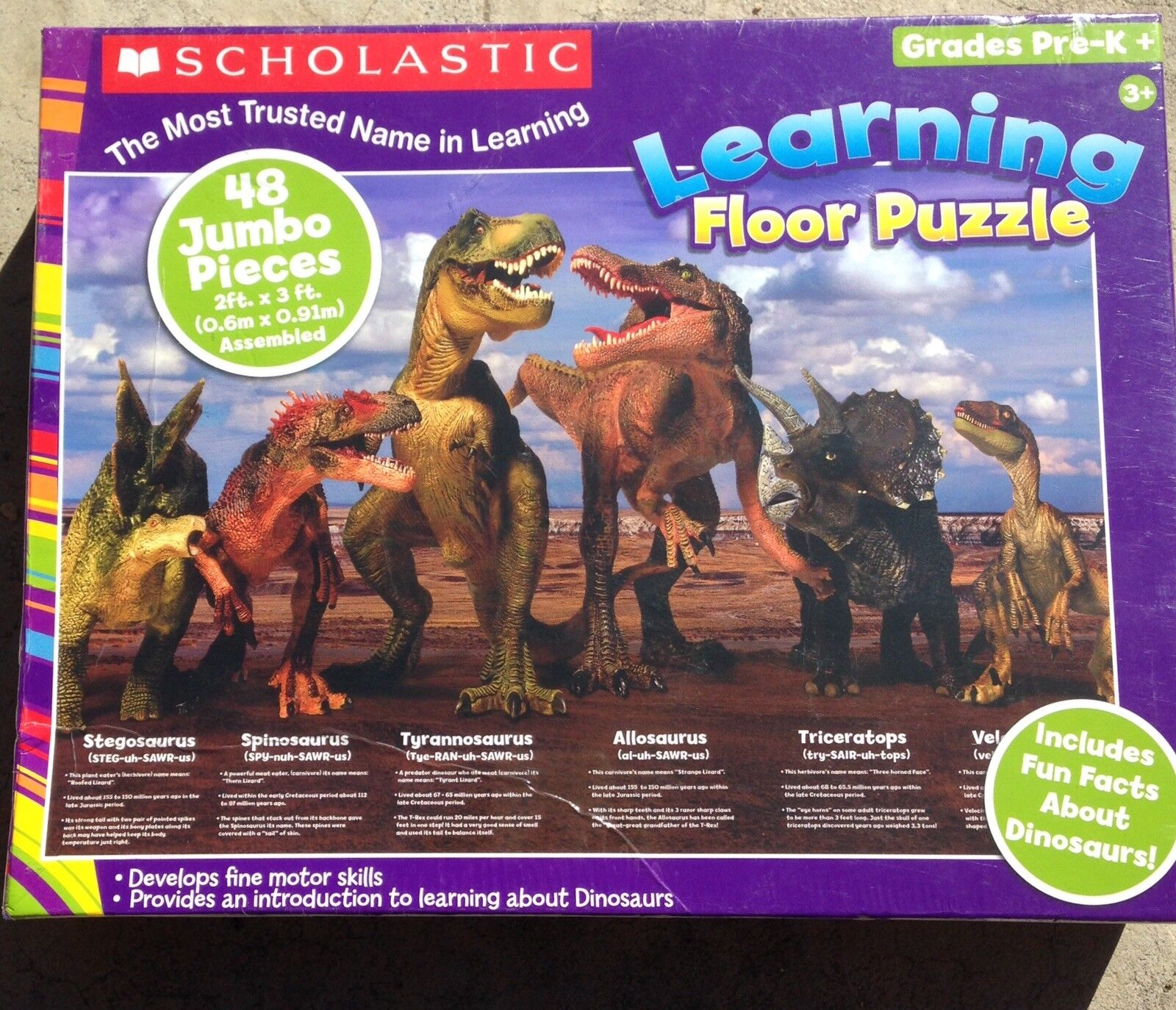 Dinosaur Scholastic Learning Fußboden Puzzle 48 Jumbo Pieces NEW  Fast Shipping