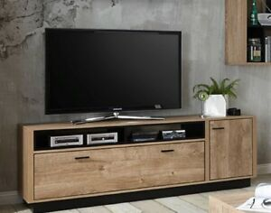 lowboard 180 cm unterschrank fernsehschrank board tv bank eiche schwarz neu ebay. Black Bedroom Furniture Sets. Home Design Ideas