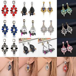 1Pair-Women-Multicolor-Rhinestone-Crystal-Resin-Ear-Stud-Eardrop-Dangle-Earring