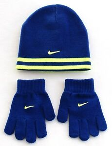 db5301e7884 Nike Reversible Blue   Volt Knit Beanie   Stretch Gloves Youth Boy s ...