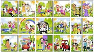 Loralie-Designs-Golf-Happy-Panel-Lady-Golfer-Golfing-Cotton-Fabric-24-034-X44-034-Panel