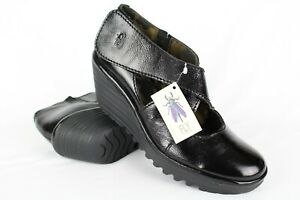 New-FLY-London-Women-039-s-Yogo-Wedge-Pump-Mary-Jane-Size-40-9-9-5-Black-Patent