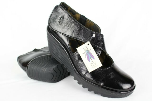 New FLY London Women's Yogo Wedge Pump Mary Jane Size 40/9-9.5 Black Patent