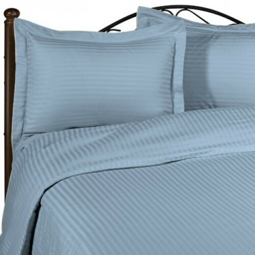 1200 Thread Count Egyptian Cotton Sky blueeeee Striped All Bedding Items US Size