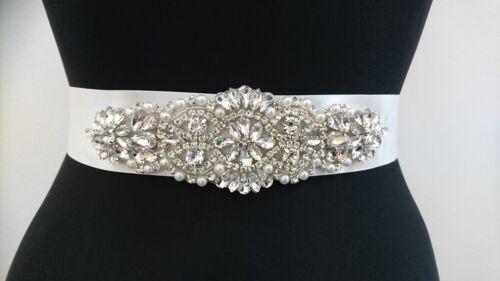 Bridal Wedding Dress Belt Sash Pearl Rhinestone And Crystal Sparkle Ivory Ribbon