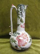 Rare pichet faience de Charolles Molin décor Pavot st botanique 1900