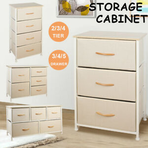 3/4/5 Drawer Fabric Dresser For Bedroom Storage Tower Organizer Kids Toy Chest