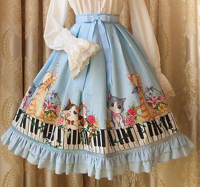 Cosplay Sweet Love Lolita Kitty with piano key prints kawaii skirt (light blue)
