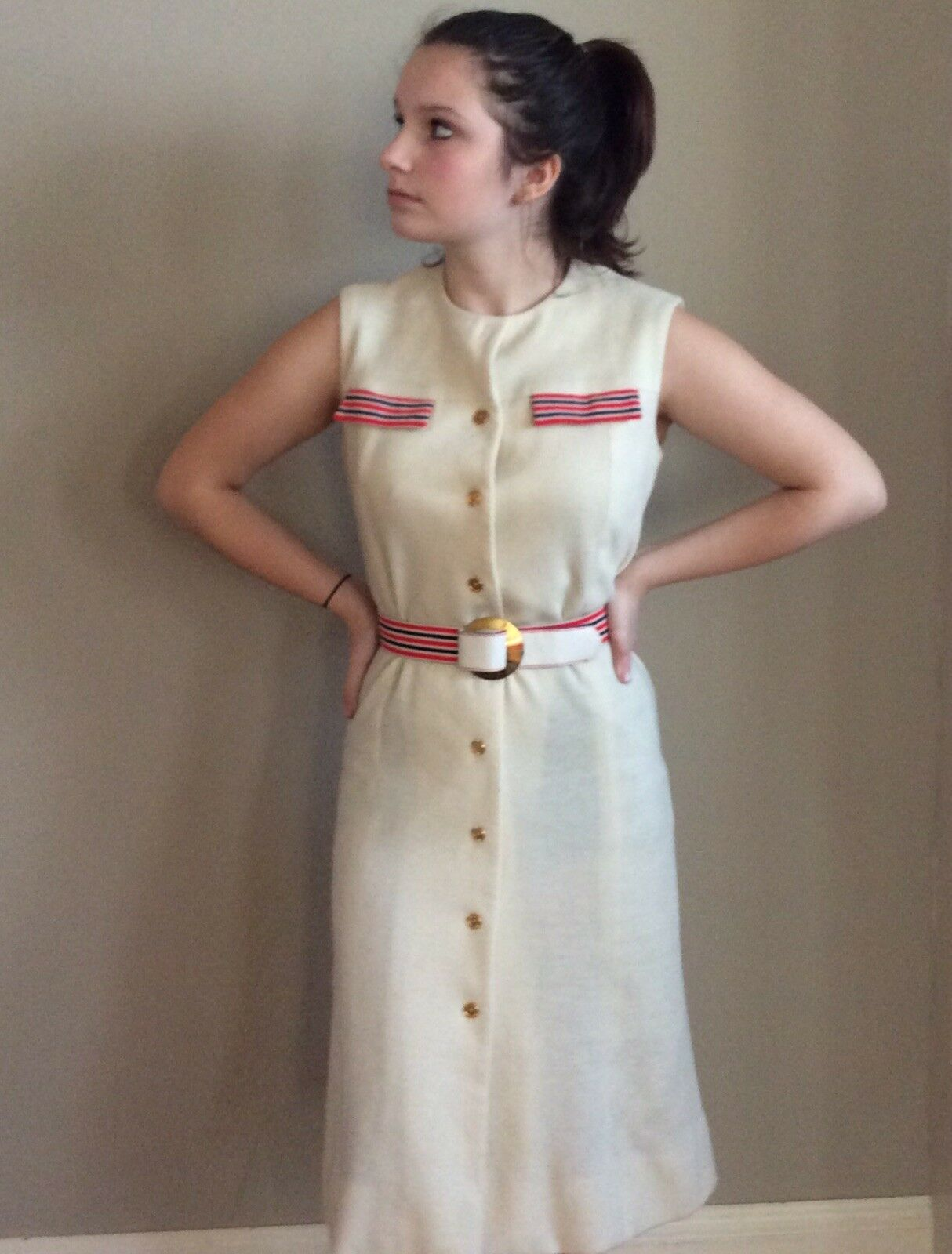 Vintage Sacony Exclusive Button Front Belted Shif… - image 3