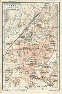 Cartina Geografica Trento.Carta Geografica Antica Trento Pianta Della Citta 1920 Old Antique Map Ebay