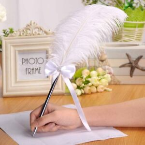 White-Ostrich-Quill-Feather-Wedding-Guest-Book-Signing-Pen-Heart-Decoration