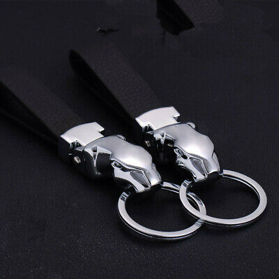 Leather Key Chain Leopard Head Metal Keychain Car Key Pendant with Woven Leather Rope