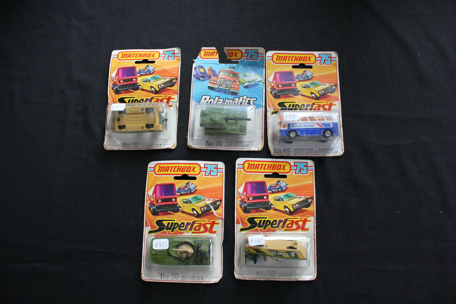 Lot 5 MATCHBOX 75 SUPERFAST N°65 N°70 N°30 canon auto porte autobus avion
