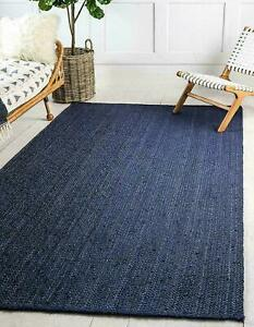 Rug 100% Natural Jute Braided Blue Reversible Carpet Rug Modern Living Area Rug