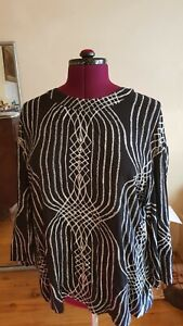 Sass-and-Bide-amazing-feature-tunic-blouse-size-L-embellished-with-gold-flecks