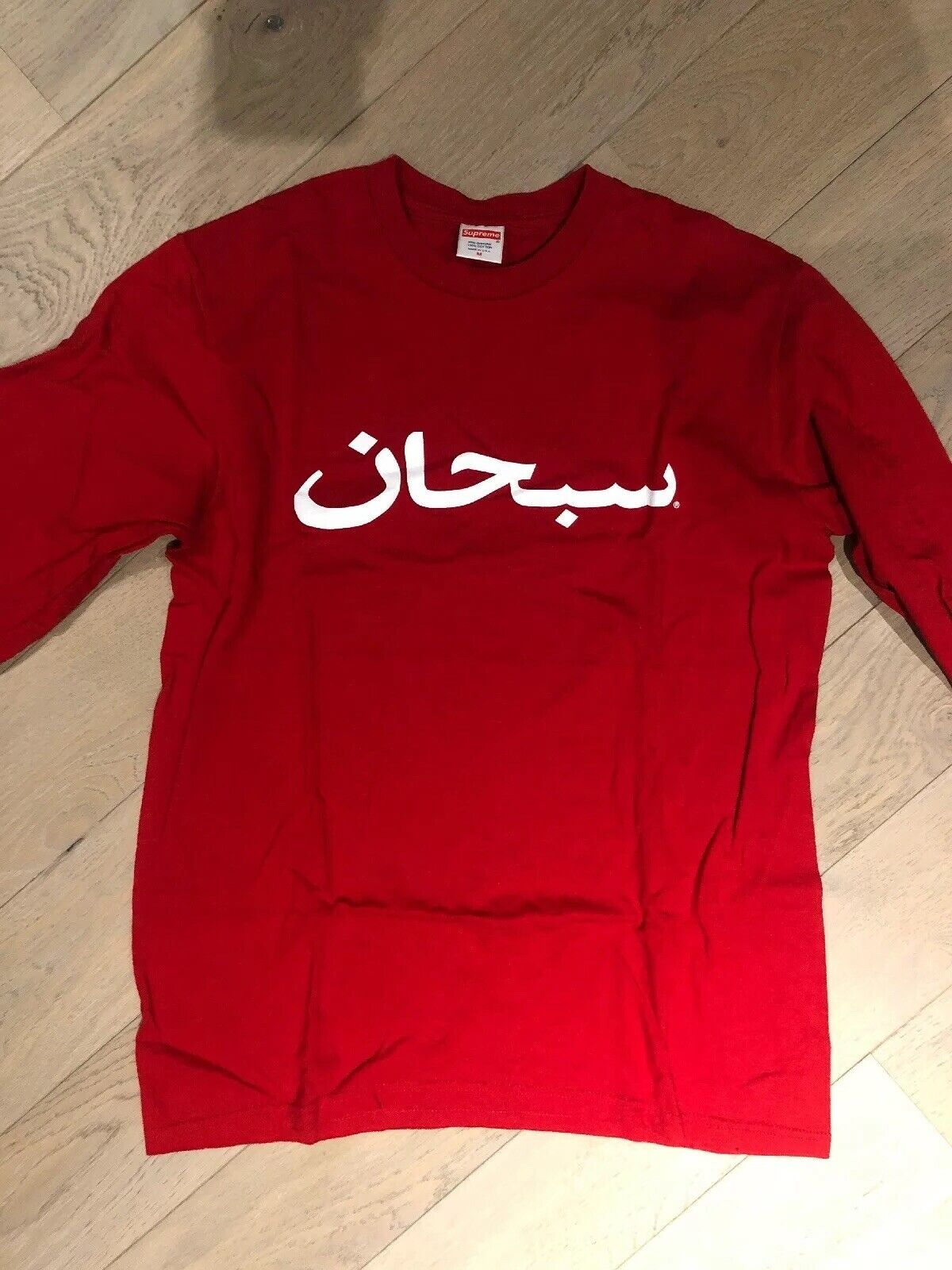 Supreme Arabic Logo Medium Red Long Sleeves
